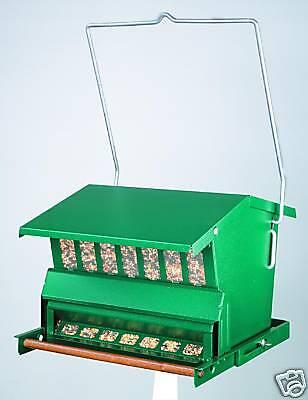 BIRD FEEDER Green Metal Hanging or Pole 15 LB Capacity