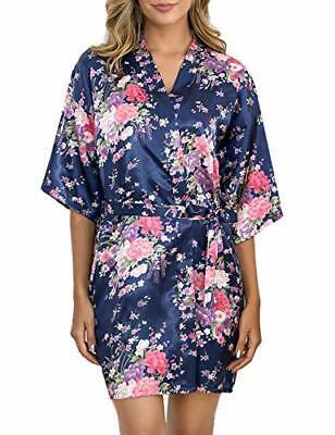 Aibrou Bata Mujer Seda Flores Corto,Kimono Satén Suave y (XXL|Azul Oscuro)