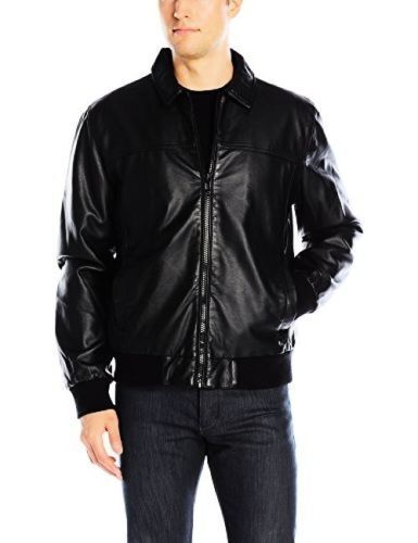 160 CALVIN KLEIN MENS FAUX LEATHER BOMBER JACKET BLACK SIZE XL X-LARGE NWT  фото f257e5d964e