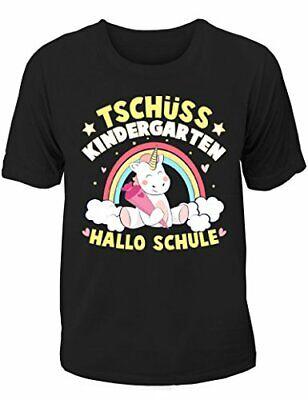 T-Shirt Einschulung/Schulanfang: Einhorn Tschüss Kindergarten - Hallo Schule