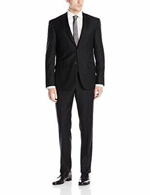 DKNY Men's Slim Fit Suit Dominic 36R Single Breasted Black 100% Wool Flat Front
