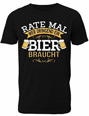 Fun T-Shirt Herren - mit Spruch Rate Mal Wer Dringend Ein Bier Braucht