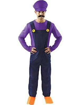 Adult Waluigi Super Mario Bad Plumbers Mate Fancy Dress Costume Outfit Standard