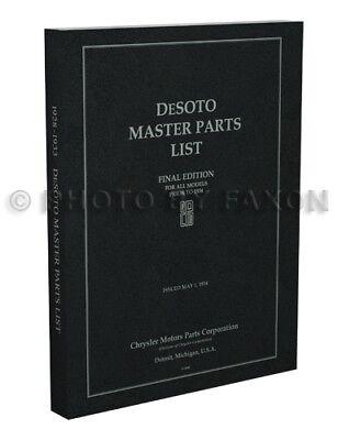 DeSoto Parts Book 1928 1929 1930 1931 1932 1933 De Soto Master Catalog List