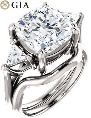 Cushion & Trillion cut Diamond Platinum Engagement Ring GIA F SI1, 3.52 tcw