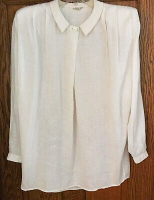 Vntg~Georgio Armani~White linen blouse~long slv~sz 42 (runs large)~Made in Italy