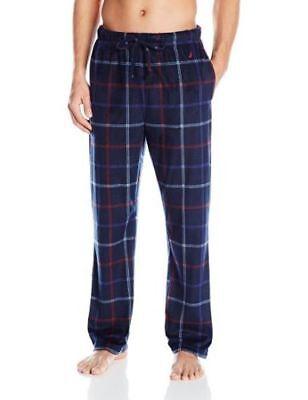 NWOT NAUTICA Mens Soft Fleece Drawstring Pajama Lounge Pants Navy Red Plaid M