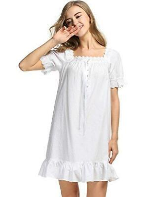 Cotton Short Sleeve Nightgown for Women with Lace Trim WHITE BRAND NEW  Cotton Short Sleeve Gown