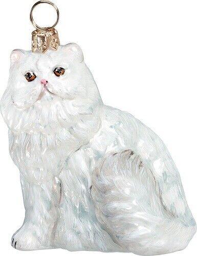 White Persian Kitty Cat Polish Blown Glass Christmas Ornament Decoration