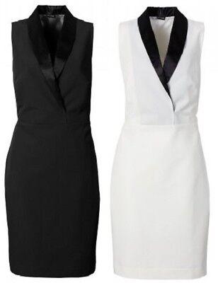 Etuikleid schwarz oder weiß Gr. 34 36 38 40 42 44 46 48 Damen Kleid Cocktail ()