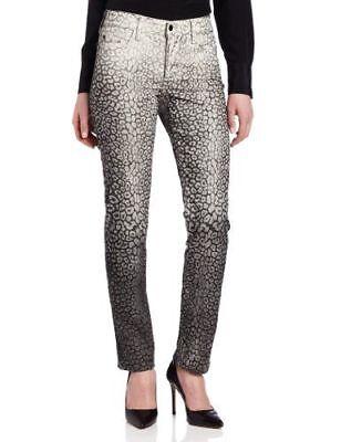 NYDJ Womens Sheri ombre Cheetah Print Slim skinny Jeans black white Size 10P NWT
