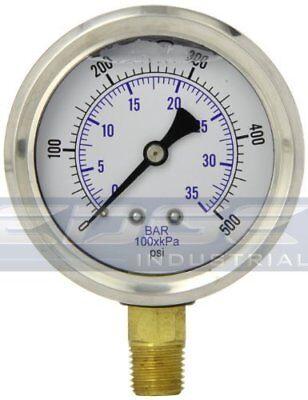Liquid Filled Pressure Gauge 0-500 Psi 2.5 Face 14 Npt Lower Mount Wog