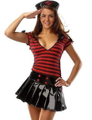 Womens Sexy Sailor Costume Navy Wet Look Fancy Dress M L Red Black Vinyl Adult
