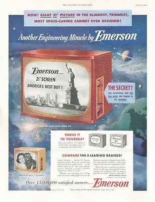 1953 Emerson Television TV PRINT AD