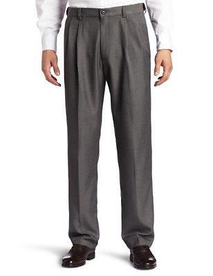 NEW MENS HAGGAR CLASSIC FIT TWO TONE HERRINGBONE MED GREY PLEATED PANTS 36 X 34 ()