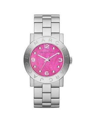 NEW Marc by Marc Jacobs MBM8623 Women's Silver Tone St. Steel Pink Dial Watch