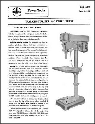 Walker-turner Rockwell 20 Inch Drill Press Manual