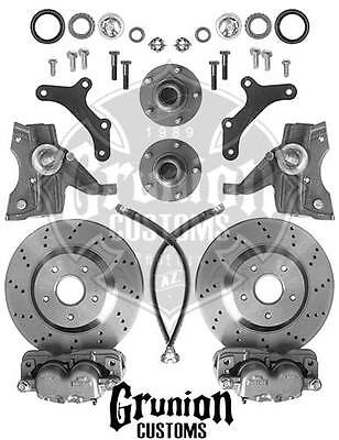 """Chevy S10 Truck 13"""" Front Disc Brake Kit Drilled Rotors Spindles McGaughys 93125"""