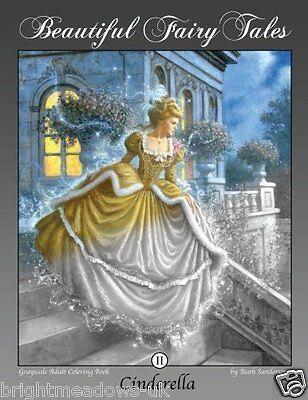 Cinderella Adult Colouring Book Greyscale Fairytale Fantasy Princess Magical Art