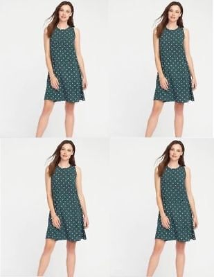 Old Navy woven swing dress sleeveless green polka dot size extra large  nwt (New Dotted Dresses)