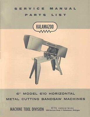 Kalamazoo Service Parts Model 610 Bandsaw Manual