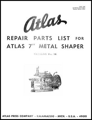Atlas 7 Inch Shaper Parts And Instruction Manual
