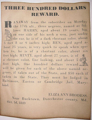 Harriet Tubman Runaway Slave Poster  Slavery  Minty  Wanted