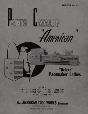 American Lathe Deluxe Parts Manual 14 16 20 25 Inch