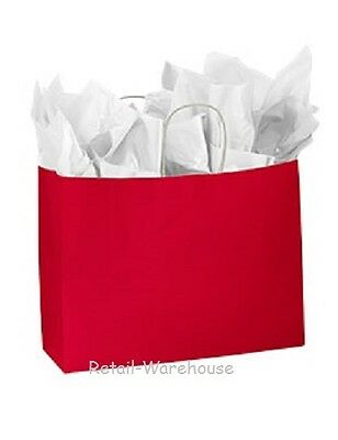 Paper Shopping Bags 25 Glossy Red Retail Gift Bag Merchandise 16 X 6 X 12