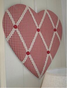 2 x Gisela Graham look Memo Red Gingham Heart Shape Pin Board.