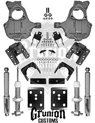 2016½ - 2017 Chevy Silverado 3/5-4/6 Lowering Kit Stamped A Arms McGaughys