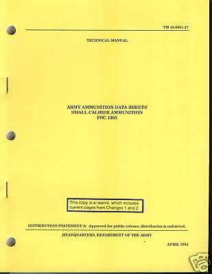Army Ammunition Data Sheets, Small Caliber Ammunition (1994
