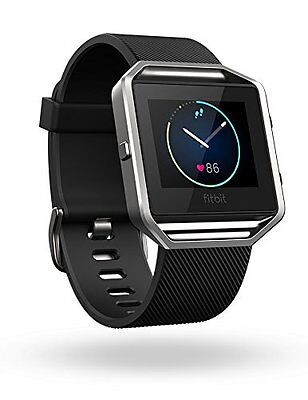 Fitbit Blaze Smart Fitness Watch, Black, Silver - Large