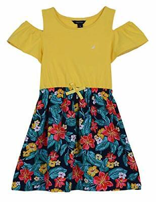 New Nautica Girls' Yellow Tropical Floral Cold Shoulder Fashion Dress Size 5