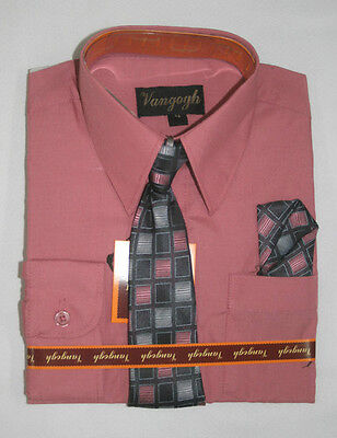 Boys Hot Pink Dress Shirt with Matching Tie & Hankie Long Sleeves Sizes 4 to 20