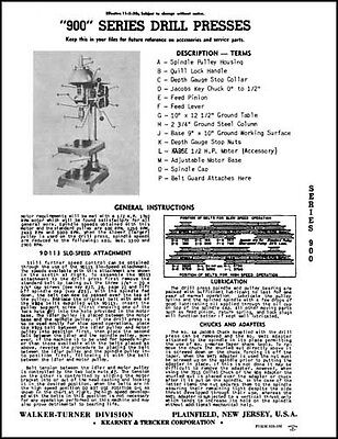 Walker-turner 900 Series Drill Press Manual Dp93