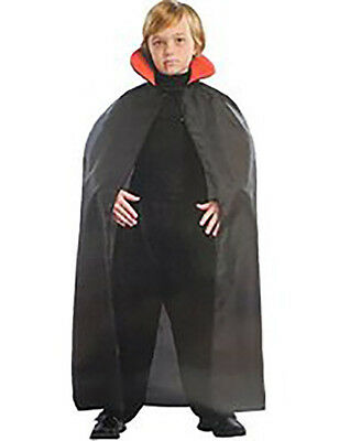 Boy's Vampire Dracula Halloween Costume Cape NEW 45 Inch Black and Red (Boy Vampire Costume)