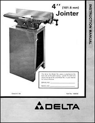 Rockwell Delta 37-290 4 In. Deluxe Jointer Manual 1984