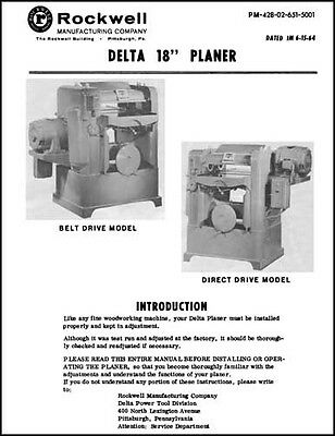 Rockwell Delta 18 Inch Planer Manual 1964