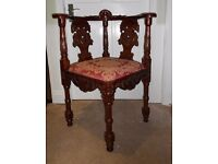 Carved Corner Chair.