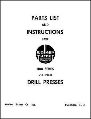 Walker-turner 1100 Series 20 Inch Drill Press Manual