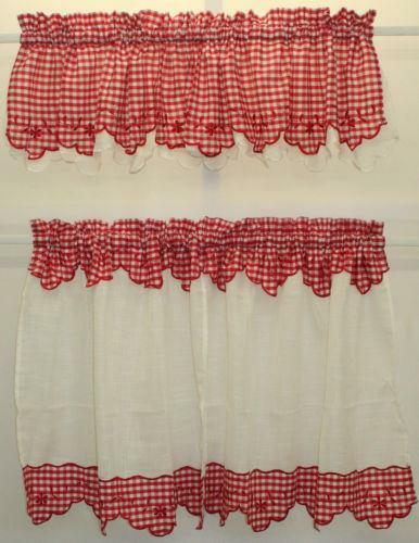 Red Gingham Valance Ebay