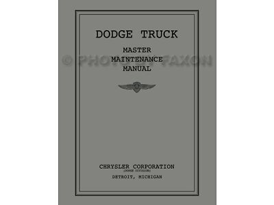 1934 1935 1936 Dodge Pickup and Truck Shop Manual Repair Service Book