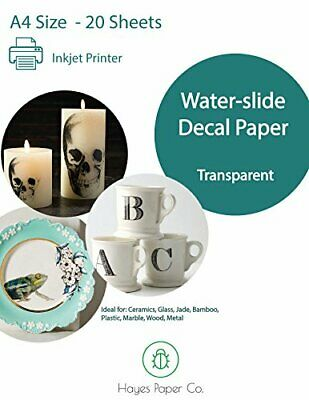 Hayes Paper, Waterslide Decal Paper INKJET CLEAR 20 Sheets Premium Water-Slide Hayes Inkjet Paper