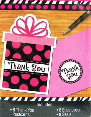 POLKA DOT Pink and Black THANK YOU NOTES (8) ~ BIrthday Party Supplies Cards