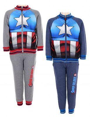 Avengers Captain America Anzug (Avengers Jogginganzug Trainingsanzug Captain America Grau/Blau Set Neu Jungs)