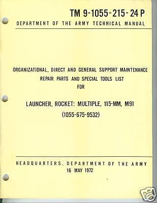 Multiple Rocket Launcher - Rocket Launcher, Multiple, 115-MM, M91, Repair Parts
