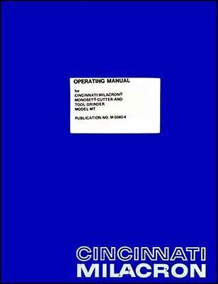Cincinnati Monoset Cutter Grinder Operators Manual Mt