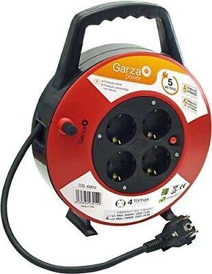 Garza Power, Alargador Enrollacables de 5 metros con Asa. Prolongador Eléctrico