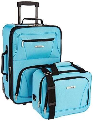 2 Piece Turquoise Luggage Set Expandable Blue TSA Carry On B